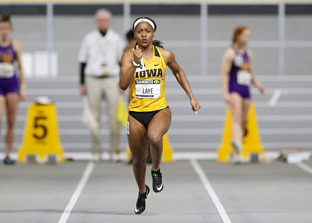 Iowa's Jada Laye runs in the women's 60 meter dash prelim event during the Hawkeye Invitational at the Recreation Building in Iowa City on Saturday, January 11, 2020. (Stephen Mally/hawkeyesports.com)