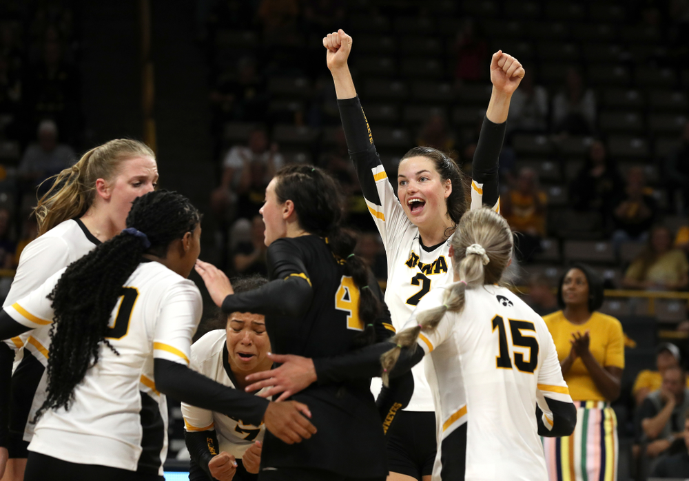 Iowa Hawkeyes setter Courtney Buzzerio (2) against the Minnesota Golden Gophers Wednesday, October 2, 2019 at Carver-Hawkeye Arena. (Brian Ray/hawkeyesports.com)