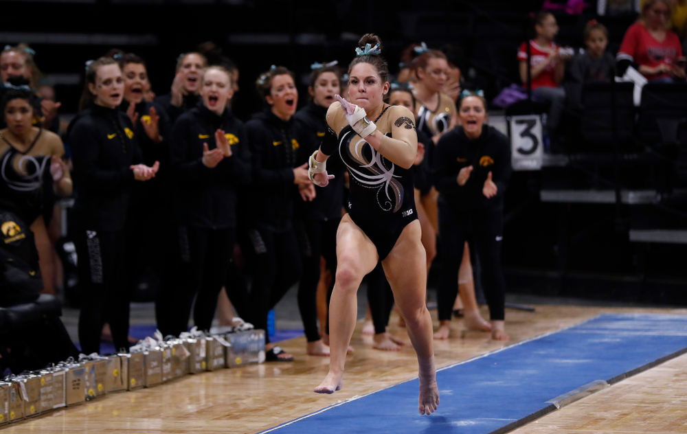 Iowa's Melissa Zurawski competes on the vault against the Nebraska Cornhuskers