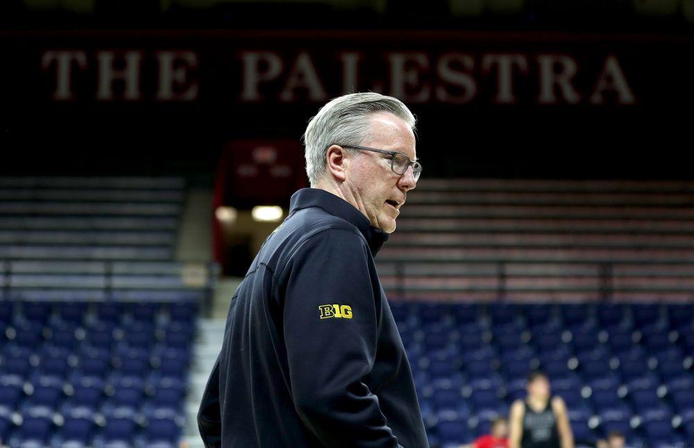 Iowa Hawkeyes head coach Fran McCaffery practice at the Palestra Friday, January 3, 2020 in Philadelphia. (Brian Ray/hawkeyesports.com)