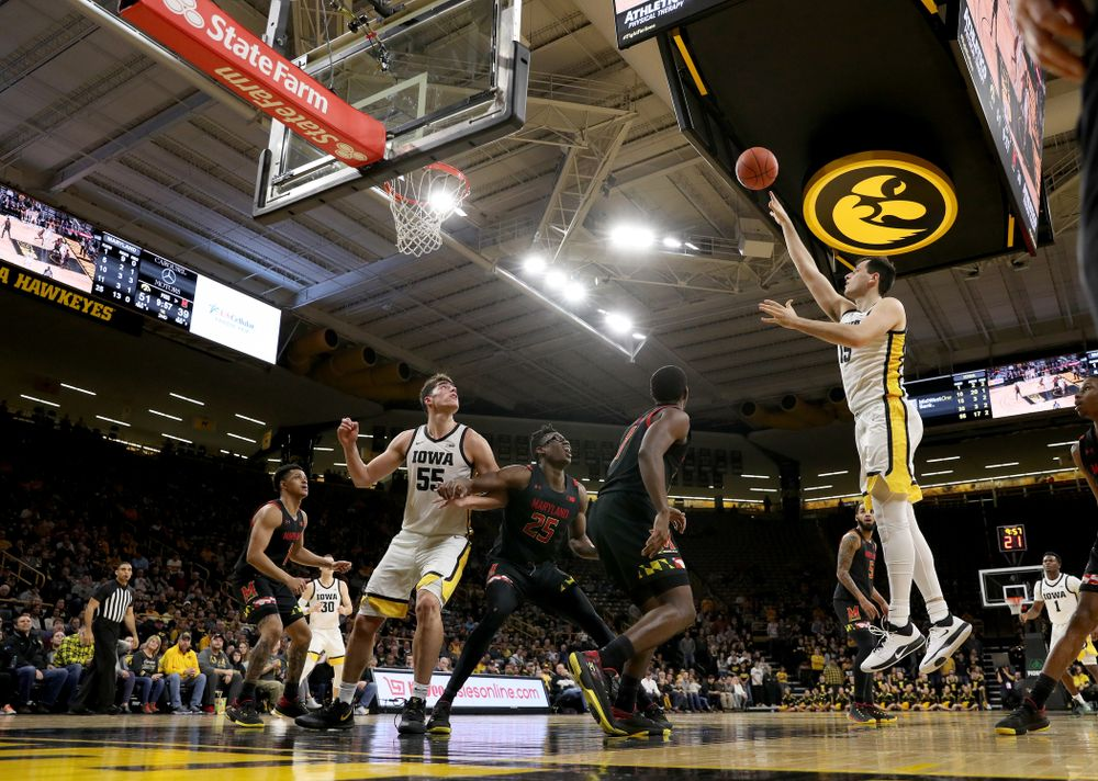 Iowa Hawkeyes forward Ryan Kriener (15) puts up a shot against the Maryland Terrapins Friday, January 10, 2020 at Carver-Hawkeye Arena. (Brian Ray/hawkeyesports.com)
