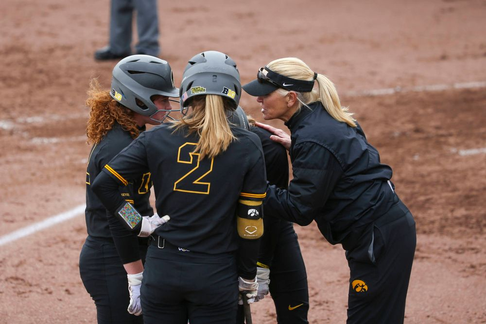 Iowa head coach Renee Gillispie at game 2 vs Northwestern on Saturday, March 30, 2019 at Bob Pearl Field. (Lily Smith/hawkeyesports.com)