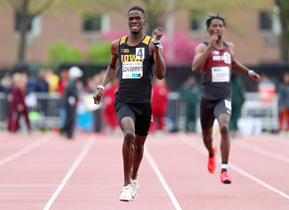 Iowa's Wayne Lawrence Jr. runs the men's 400 meter dash event on the second day of the Big Ten Outdoor Track and Field Championships at Francis X. Cretzmeyer Track in Iowa City on Saturday, May. 11, 2019. (Stephen Mally/hawkeyesports.com)