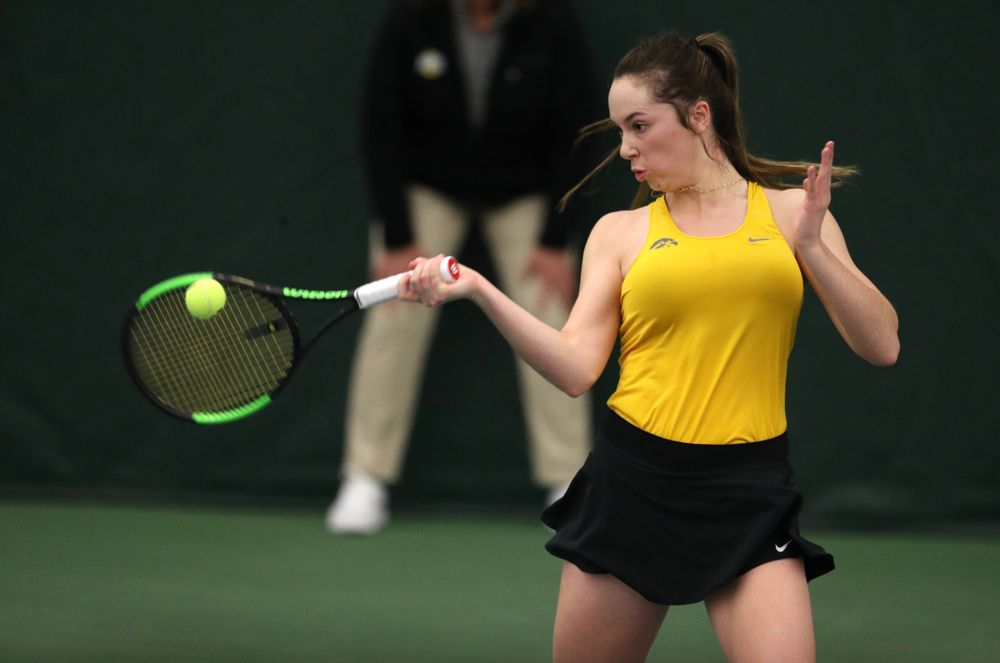 Iowa's Sam Mannix plays a doubles match against Xavier Friday, January 18, 2019 at the Hawkeye Tennis and Recreation Center. (Brian Ray/hawkeyesports.com)