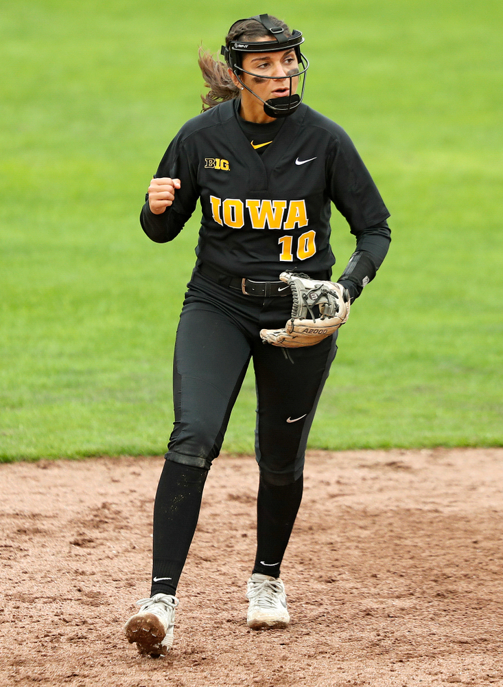 Iowa infielder Nicole Yoder (10) pumps her fist after a strikeout to end the top of the seventh inning of their game against Iowa Softball vs Indian Hills Community College at Pearl Field in Iowa City on Sunday, Oct 6, 2019. (Stephen Mally/hawkeyesports.com)