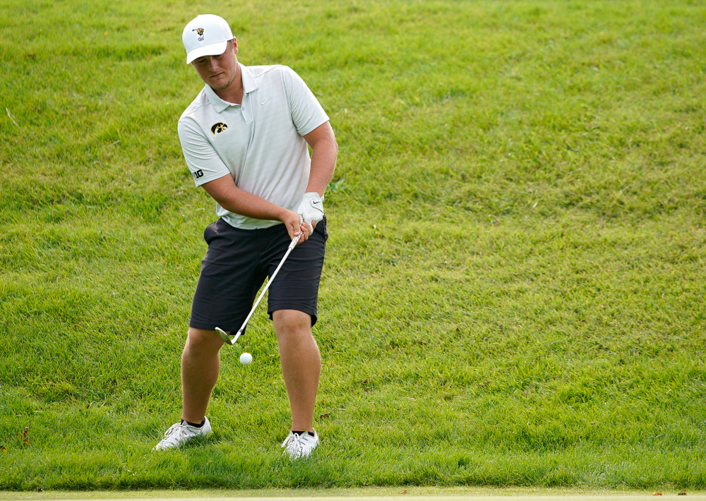 Iowa's Alex Schaake chips onto the green during the second day of the Golfweek Conference Challenge at the Cedar Rapids Country Club in Cedar Rapids on Monday, Sep 16, 2019. (Stephen Mally/hawkeyesports.com)