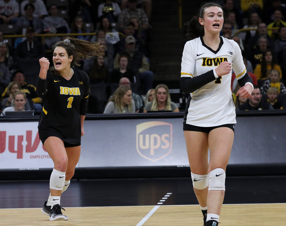 Iowa Hawkeyes defensive specialist Molly Kelly (1) celebrates after winning a point during a match against Penn State at Carver-Hawkeye Arena on November 3, 2018. (Tork Mason/hawkeyesports.com)
