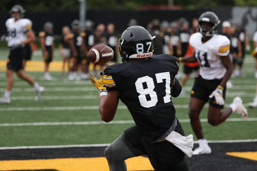 Iowa Hawkeyes tight end Noah Fant (87) during practice No. 4 of Fall Camp Monday, August 6, 2018 at the Hansen Football Performance Center. (Brian Ray/hawkeyesports.com)