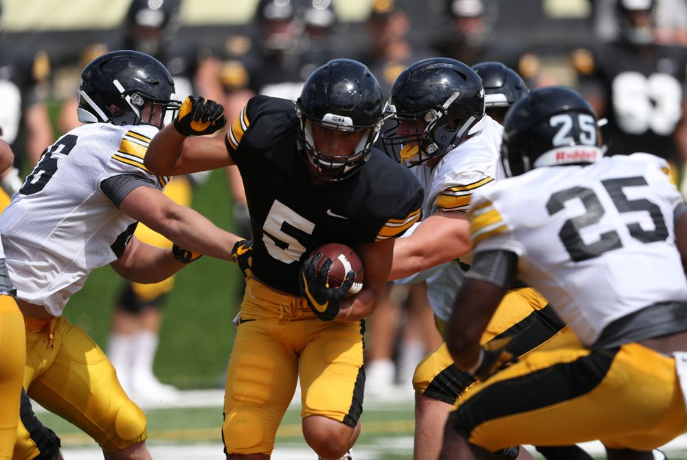Iowa Hawkeyes wide receiver Oliver Martin (5) during Fall Camp Practice No. 5 Tuesday, August 6, 2019 at the Ronald D. and Margaret L. Kenyon Football Practice Facility. (Brian Ray/hawkeyesports.com)