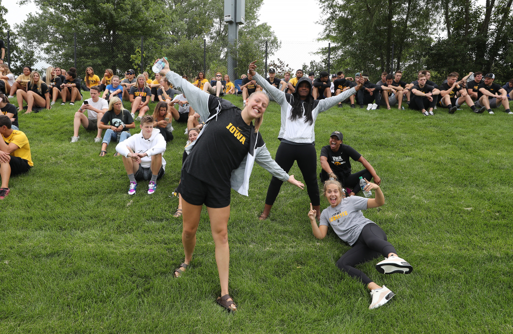 Members of the Iowa WomenÕs Basketball team cheer on the Hawkeyes during a 6-1 win over Northern Iowa Sunday, August 25, 2019 at the Iowa Soccer Complex. (Brian Ray/hawkeyesports.com)