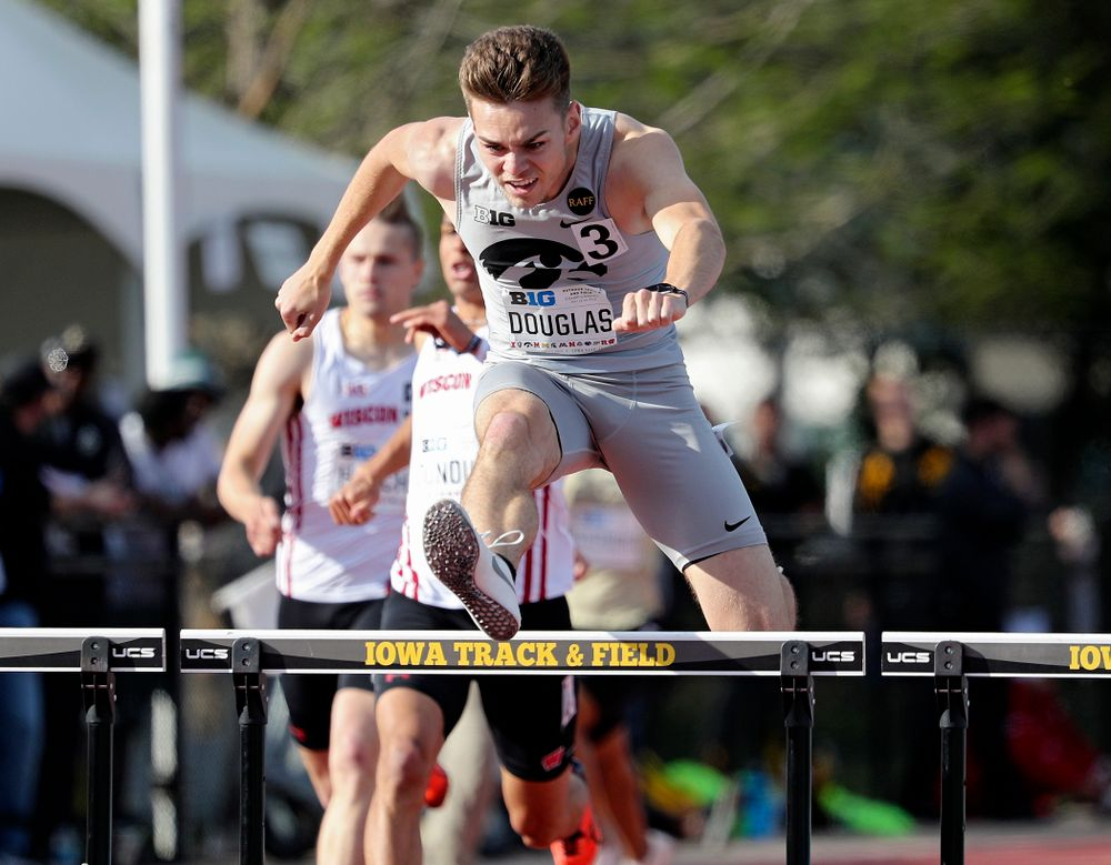 Iowa's Chris Douglas runs the men's 400 meter hurdles event on the first day of the Big Ten Outdoor Track and Field Championships at Francis X. Cretzmeyer Track in Iowa City on Friday, May. 10, 2019. (Stephen Mally/hawkeyesports.com)