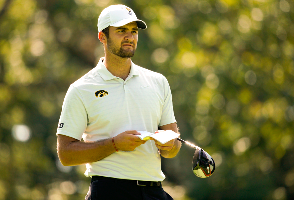 Iowa's Gonzalo Leal prepares to tee off during the second day of the Golfweek Conference Challenge at the Cedar Rapids Country Club in Cedar Rapids on Monday, Sep 16, 2019. (Stephen Mally/hawkeyesports.com)