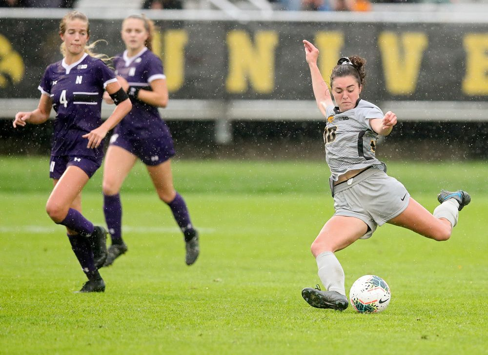 Iowa forward Devin Burns (30) lines up a shot during the second half of their match at the Iowa Soccer Complex in Iowa City on Sunday, Sep 29, 2019. (Stephen Mally/hawkeyesports.com)