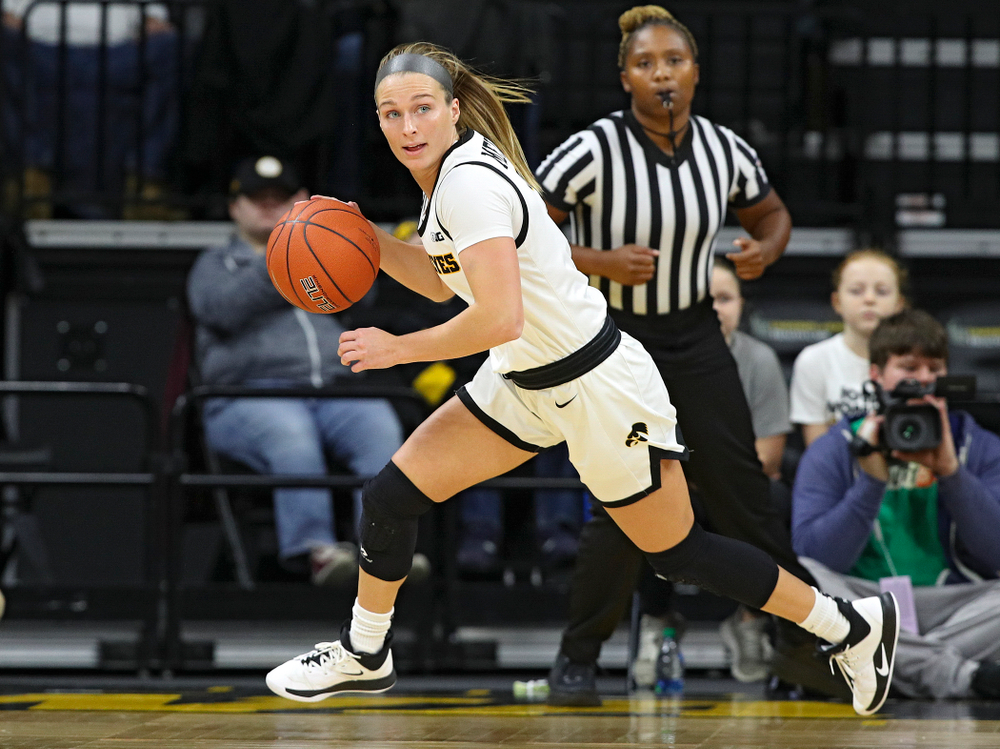Iowa Hawkeyes guard Makenzie Meyer (3) brings the ball down the court during the first quarter of their game at Carver-Hawkeye Arena in Iowa City on Sunday, January 12, 2020. (Stephen Mally/hawkeyesports.com)