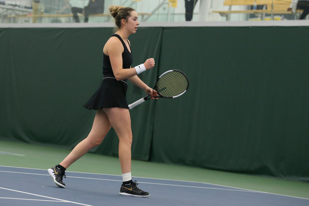 Iowa's Samantha Mannix celebrates a point during the Iowa women's tennis meet vs UNI  on Saturday, February 29, 2020 at the Hawkeye Tennis and Recreation Complex. (Lily Smith/hawkeyesports.com)