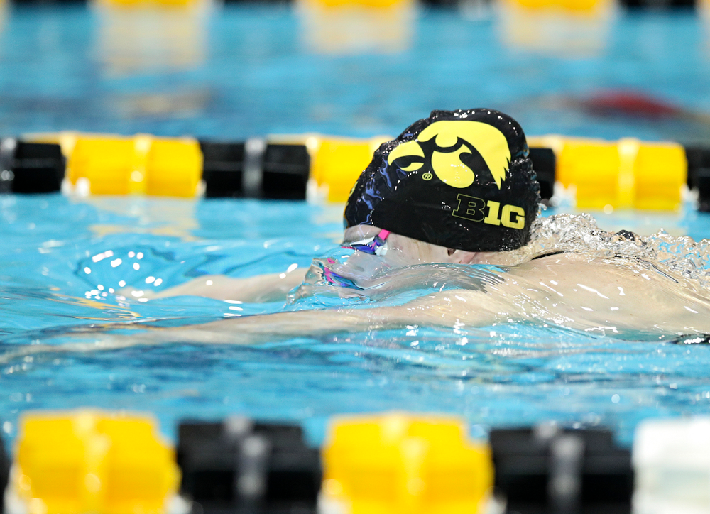Iowa's Zoe Mekus swims in the women's 200 yard breaststroke preliminary event during the 2020 Women's Big Ten Swimming and Diving Championships at the Campus Recreation and Wellness Center in Iowa City on Saturday, February 22, 2020. (Stephen Mally/hawkeyesports.com)