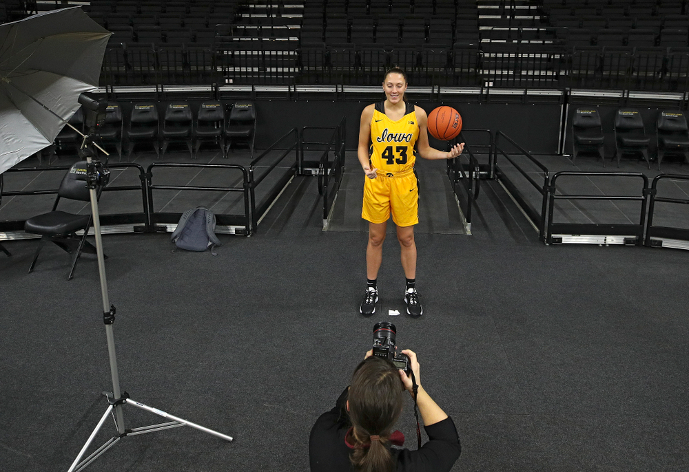 Iowa forward Amanda Ollinger (43) poses for a picture during Iowa Women's Basketball Media Day at Carver-Hawkeye Arena in Iowa City on Thursday, Oct 24, 2019. (Stephen Mally/hawkeyesports.com)
