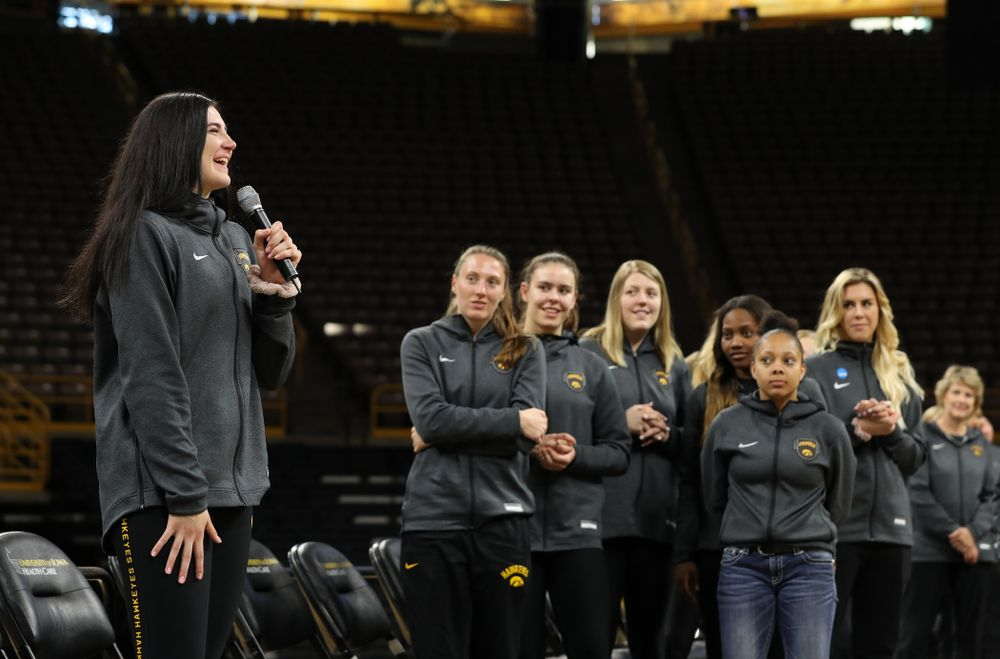 Iowa Hawkeyes forward Megan Gustafson (10) speaks after finding out her jersey will be retired at a ceremony next season during the teamÕs Celebr-Eight event Wednesday, April 24, 2019 at Carver-Hawkeye Arena. (Brian Ray/hawkeyesports.com)