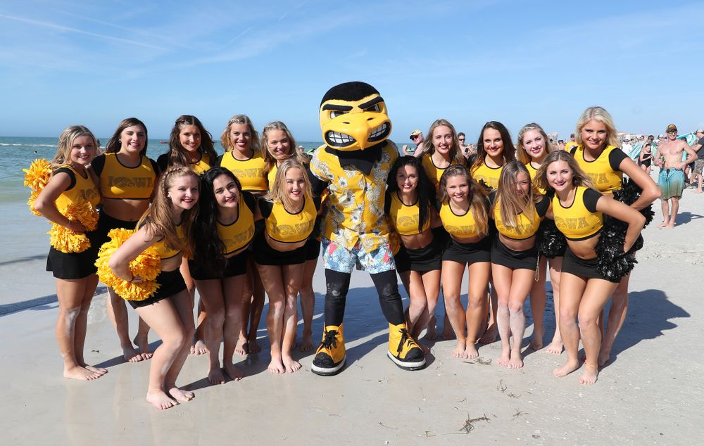 Herky The Hawk and the Iowa Dance Team during the Outback Bowl Beach Day Sunday, December 30, 2018 at Clearwater Beach. (Brian Ray/hawkeyesports.com)