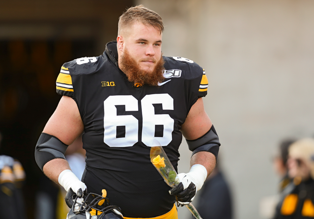 Iowa Hawkeyes offensive lineman Levi Paulsen (66) is acknowledged on senior day before their game at Kinnick Stadium in Iowa City on Saturday, Nov 23, 2019. (Stephen Mally/hawkeyesports.com)
