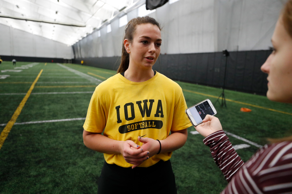 Iowa's Angela Schmiederer answers questions during the team's annual media day Thursday, February 1, 2018 at the Hawkeye Tennis and Recreation Complex. (Brian Ray/hawkeyesports.com)