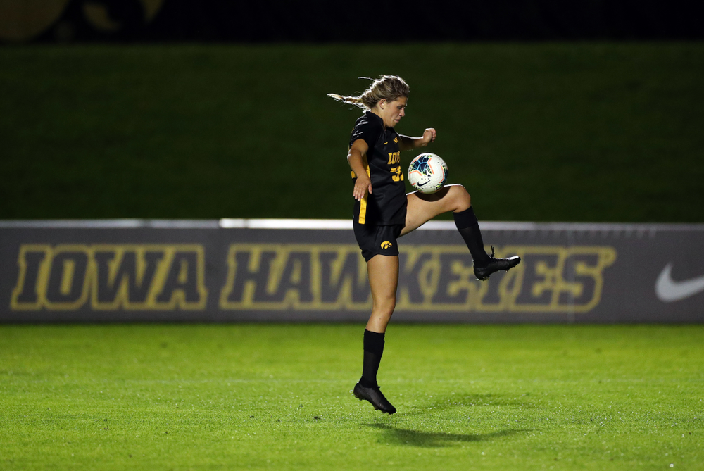 Iowa Hawkeyes forward Gianna Gourley (32) against the Nebraska Cornhuskers Thursday, October 3, 2019 at the Iowa Soccer Complex. (Brian Ray/hawkeyesports.com)