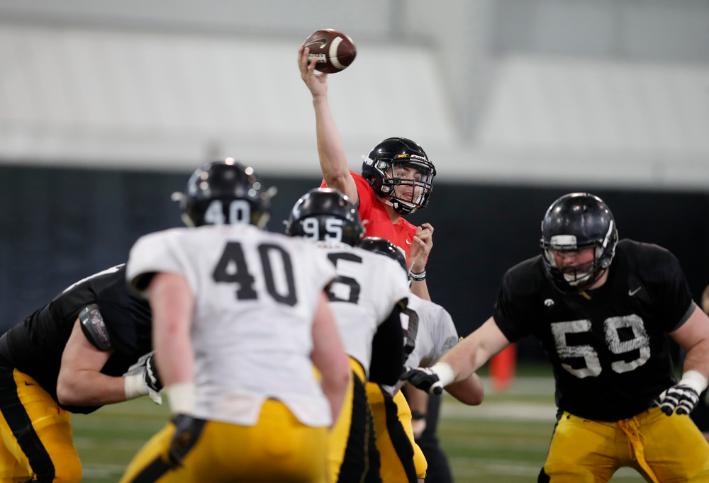 Iowa Hawkeyes quarterback Nathan Stanley (4) during spring practice  Thursday, March 29, 2018 at the Hansen Football Performance Center. (Brian Ray/hawkeyesports.com)