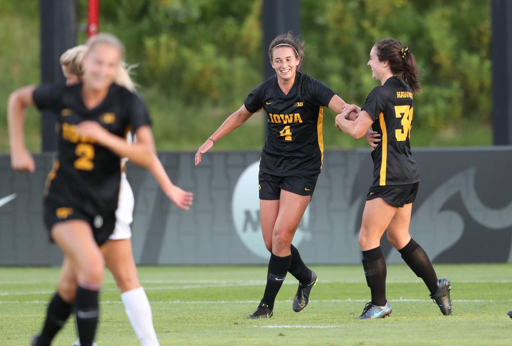 Iowa Hawkeyes forward Kaleigh Haus (4) celebrates a goal against Western Michigan Thursday, August 22, 2019 at the Iowa Soccer Complex. (Brian Ray/hawkeyesports.com)