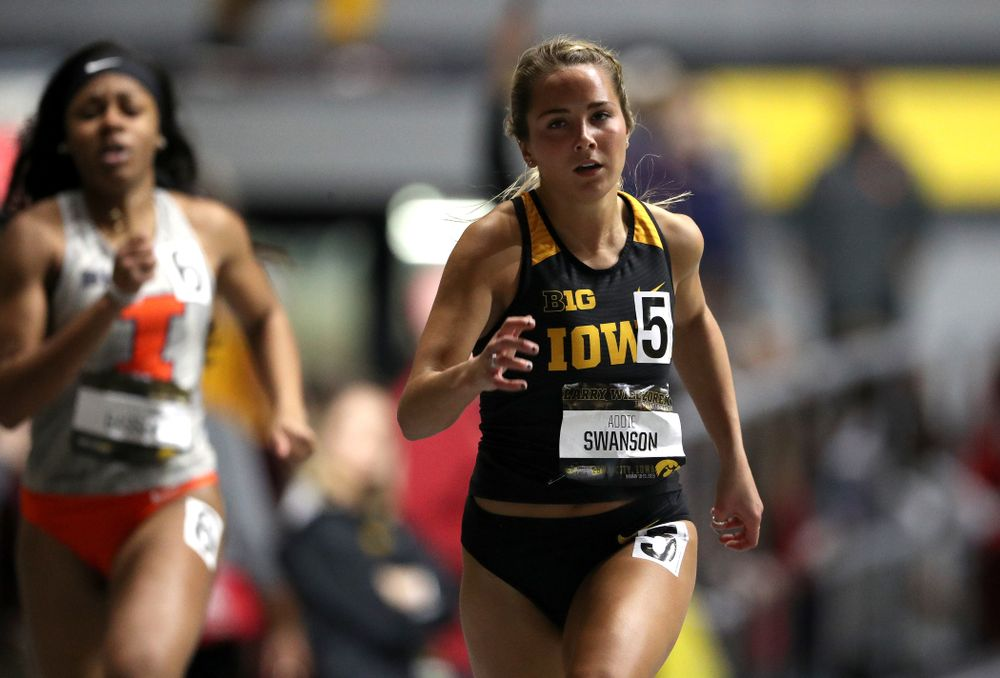 Iowa's Addie Swanson runs the 200-meters during the 2019 Larry Wieczorek Invitational  Friday, January 18, 2019 at the Hawkeye Tennis and Recreation Center. (Brian Ray/hawkeyesports.com)