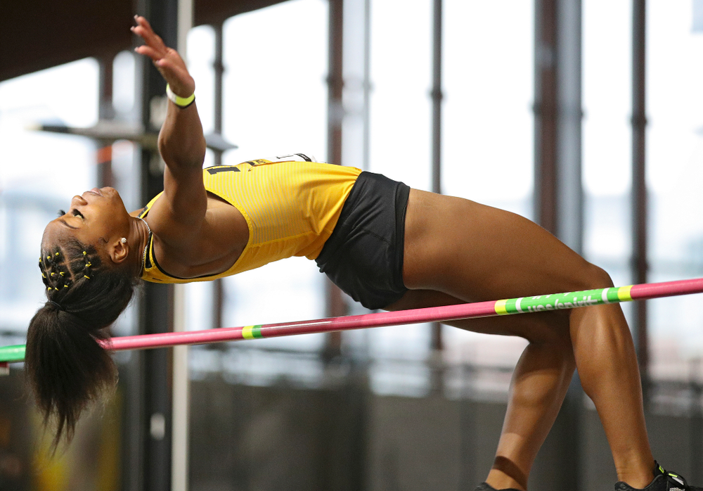 Iowa's Tionna Tobias competes in the women's high jump event during the Jimmy Grant Invitational at the Recreation Building in Iowa City on Saturday, December 14, 2019. (Stephen Mally/hawkeyesports.com)