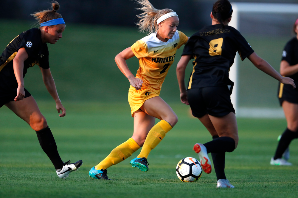 Iowa Hawkeyes Hailey Rydberg (2) against the Missouri Tigers Friday, August 17, 2018 at the Iowa Soccer Complex. (Brian Ray/hawkeyesports.com)
