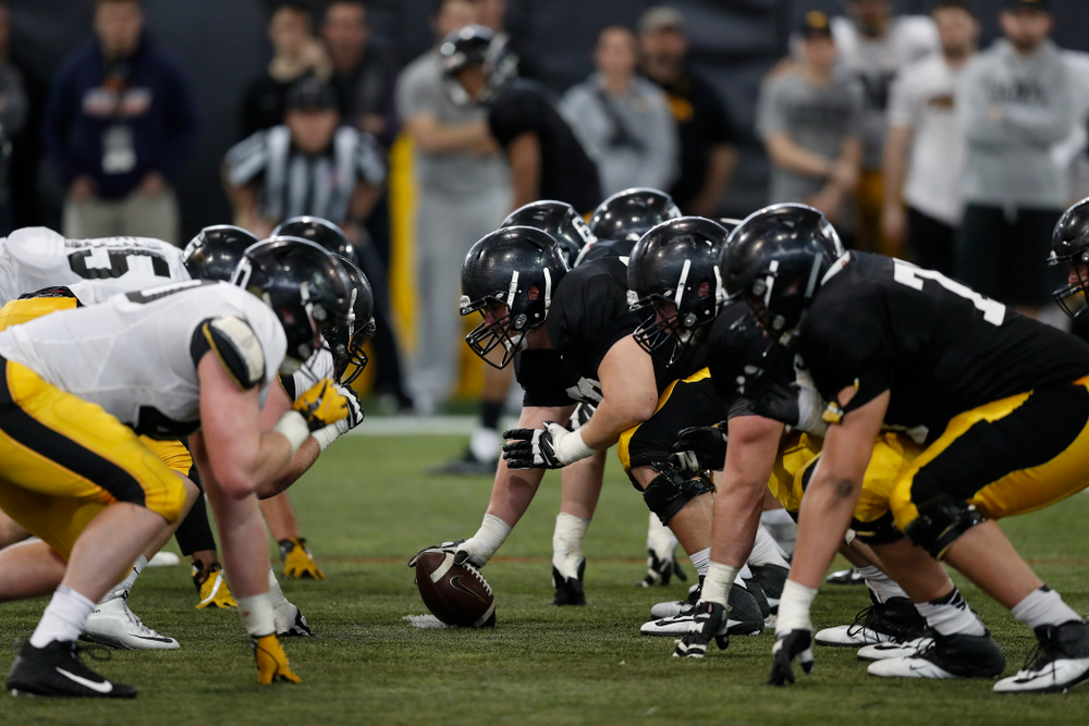 The Iowa Hawkeyes during spring practice  Saturday, March 31, 2018 at the Hansen Football Performance Center. (Brian Ray/hawkeyesports.com)