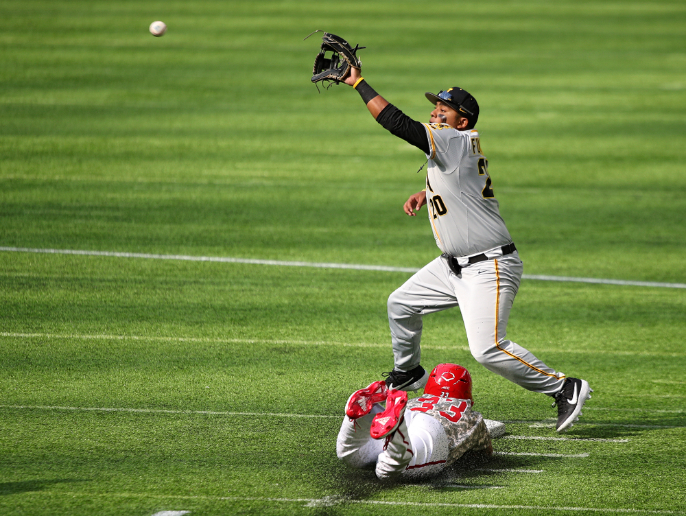 Iowa Hawkeyes infielder Izaya Fullard (20) pulls in a throw at second base during the third inning of their CambriaCollegeClassic game at U.S. Bank Stadium in Minneapolis, Minn. on Friday, February 28, 2020. (Stephen Mally/hawkeyesports.com)