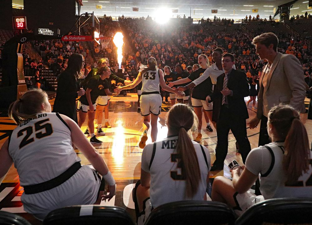 Iowa Hawkeyes forward Amanda Ollinger (43) is introduced before their game at Carver-Hawkeye Arena in Iowa City on Tuesday, December 31, 2019. (Stephen Mally/hawkeyesports.com)