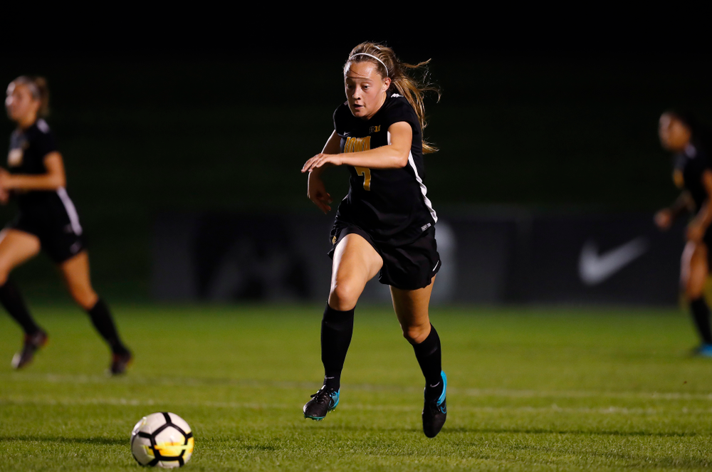 Iowa Hawkeyes Skylar Alward (7) against the Purdue Boilermakers Thursday, September 20, 2018 at the Iowa Soccer Complex. (Brian Ray/hawkeyesports.com)