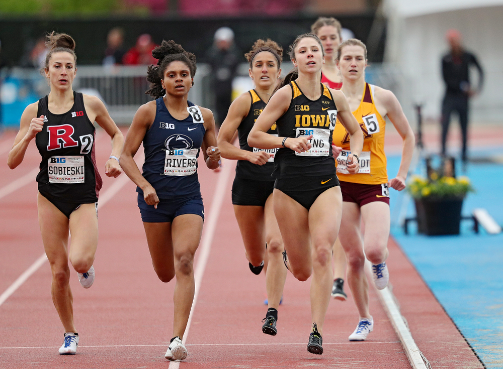 Iowa's Mallory King (front) and Tia Saunders run in the women's 800 meter event on the second day of the Big Ten Outdoor Track and Field Championships at Francis X. Cretzmeyer Track in Iowa City on Saturday, May. 11, 2019. (Stephen Mally/hawkeyesports.com)