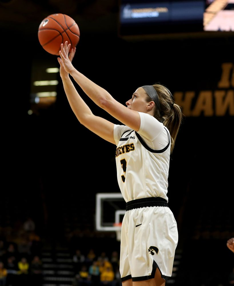 Iowa Hawkeyes guard Makenzie Meyer (3) knocks down a three point basket against North Carolina Central Saturday, December 14, 2019 at Carver-Hawkeye Arena. (Brian Ray/hawkeyesports.com)