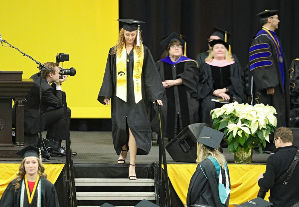 Iowa Track and Field's Kylie Morken during the College of Liberal Arts and Sciences and University College Fall 2019 Commencement ceremony at Carver-Hawkeye Arena in Iowa City on Saturday, December 21, 2019. (Stephen Mally/hawkeyesports.com)