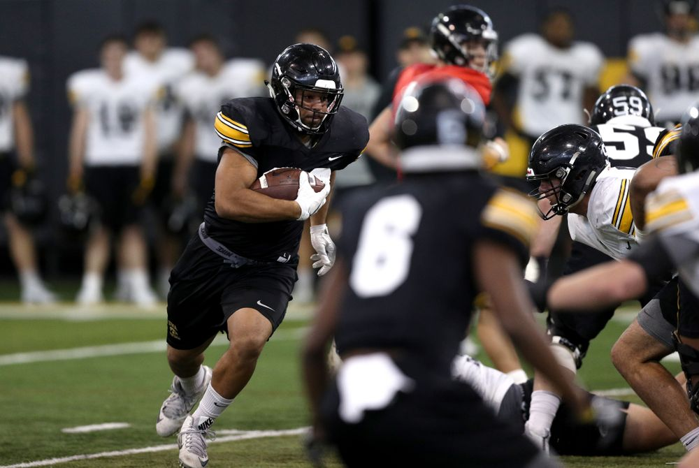 Iowa Hawkeyes running back Toren Young (28) during practice Wednesday, December 12, 2018 at the Hansen Football Performance Center in preparation for the Outback Bowl game against Mississippi State. (Brian Ray/hawkeyesports.com)