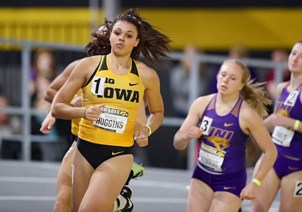 Iowa's Dallyssa Huggins runs the women's 600 meter run event during the Hawkeye Invitational at the Recreation Building in Iowa City on Saturday, January 11, 2020. (Stephen Mally/hawkeyesports.com)