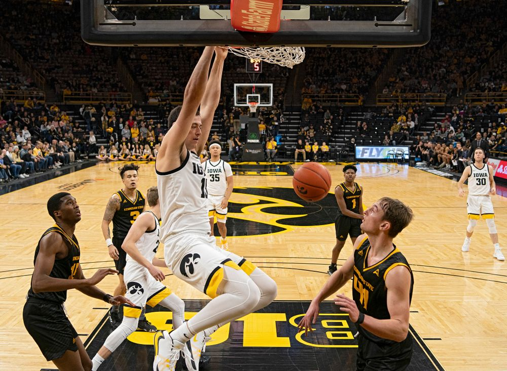 Iowa Hawkeyes forward Ryan Kriener (15) dunks the ball during the second half of their their game at Carver-Hawkeye Arena in Iowa City on Sunday, December 29, 2019. (Stephen Mally/hawkeyesports.com)