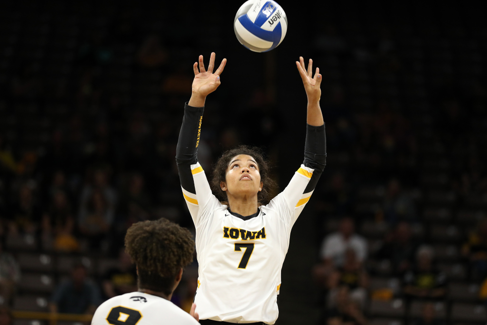 Iowa Hawkeyes setter Brie Orr (7) against the Minnesota Golden Gophers Wednesday, October 2, 2019 at Carver-Hawkeye Arena. (Brian Ray/hawkeyesports.com)
