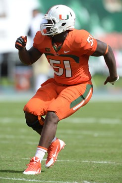 University of Miami Hurricanes defensive lineman Shayon Green #51 plays in a game against the Wake Forest Demon Deacons at Sun Life Stadium on October...