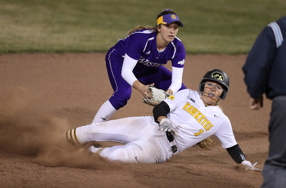 Iowa Hawkeyes Cameron Cecil (1) against Western Illinois Wednesday, March 27, 2019 at Pearl Field. (Brian Ray/hawkeyesports.com)