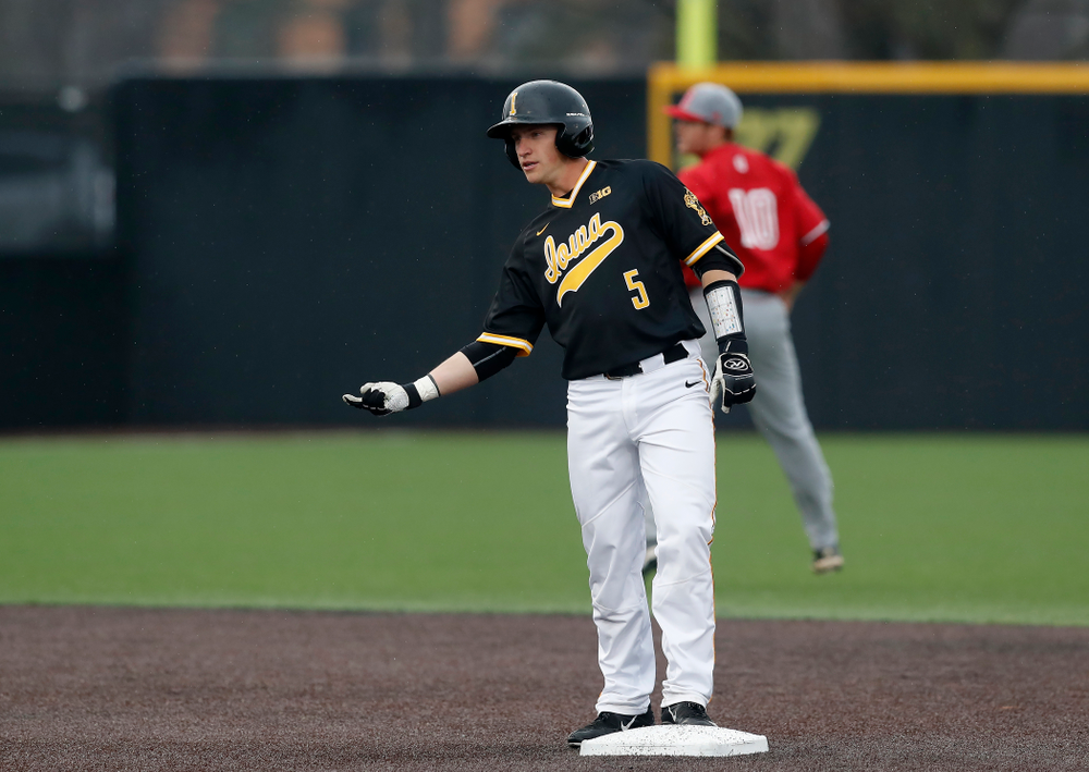 Iowa Hawkeyes catcher Tyler Cropley (5) celebrates a double against the Bradley Braves Wednesday, March 28, 2018 at Duane Banks Field. (Brian Ray/hawkeyesports.com)