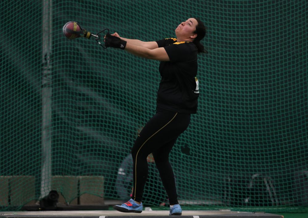 Iowa's Konstadina Spanoudakis competes in the weight throw Friday, January 11, 2019 at the Hawkeye Tennis and Recreation Center. (Brian Ray/hawkeyesports.com)