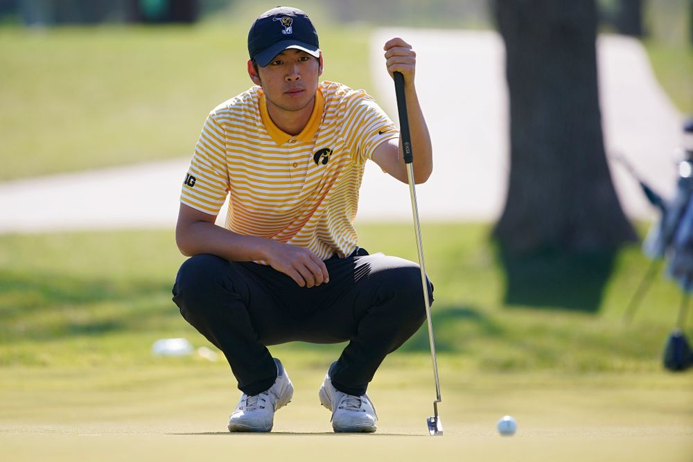 Iowa's Joe Kim lines up a putt during the third round of the Hawkeye Invitational at Finkbine Golf Course in Iowa City on Sunday, Apr. 21, 2019. (Stephen Mally/hawkeyesports.com)
