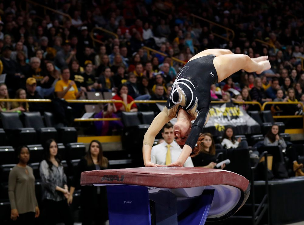 Iowa's Maria Ortiz competes on the vault against the Nebraska Cornhuskers