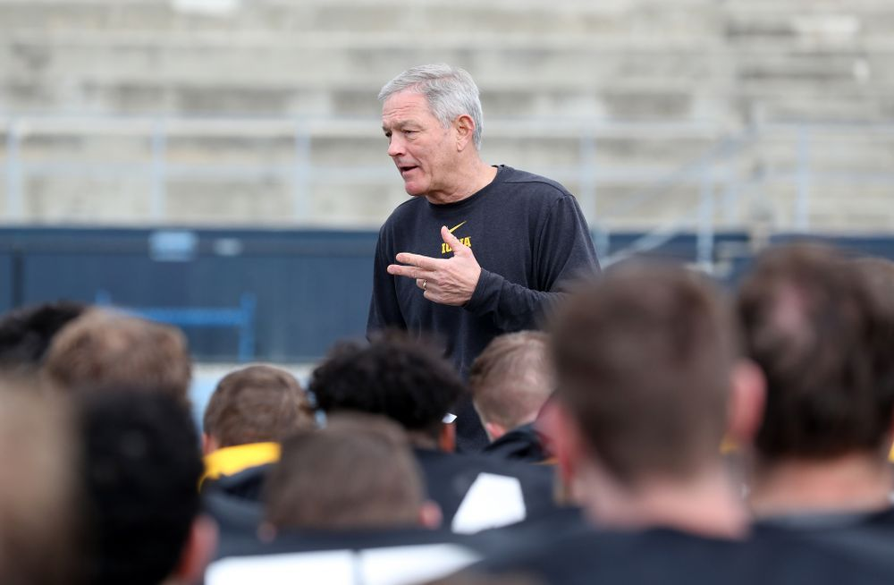 Iowa Hawkeyes head coach Kirk Ferentz during Holiday Bowl Practice No. 3  Tuesday, December 24, 2019 at San Diego Mesa College. (Brian Ray/hawkeyesports.com)