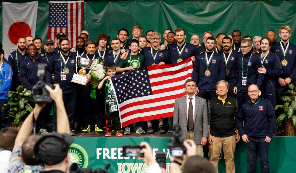 Team USA following the gold medal match of the United World Wrestling Freestyle World Cup against Azerbaijan Sunday, April 8, 2018 at Carver-Hawkeye Arena. (Brian Ray/hawkeyesports.com)
